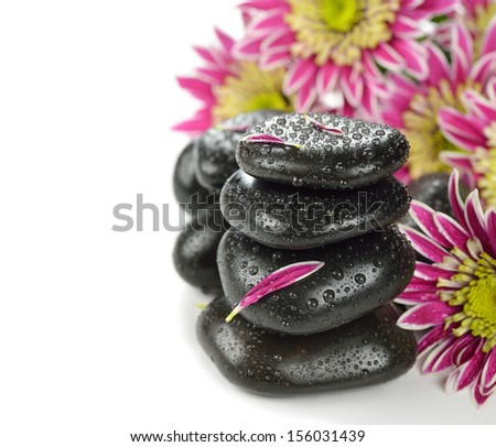Basalt stones to massage and stone therapy, on a white background