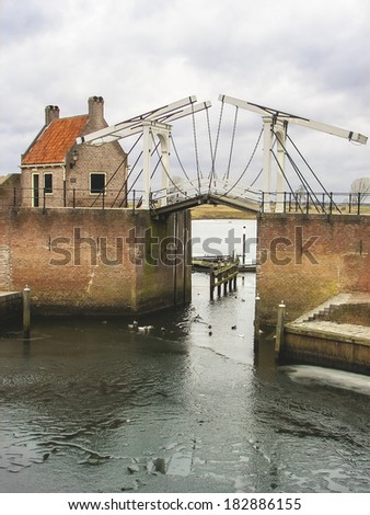 Bascule bridge and pierl in Heusden. Netherlands