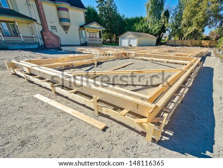 Base, fundament of a new home under construction in Vancouver, Canada. - stock photo