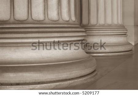 Base of Ionic Columns - stock photo