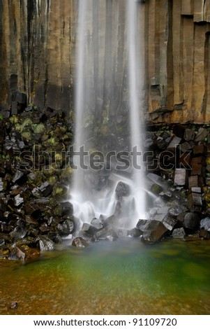 Base of the Svartifoss waterfall in the National Park of Skaftafell, Iceland.