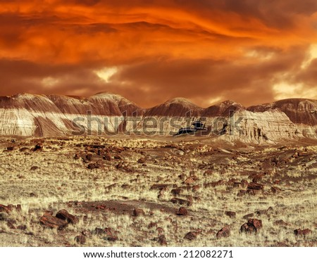 Base on Mars. Abstract natural design looking like martian surface. - stock photo