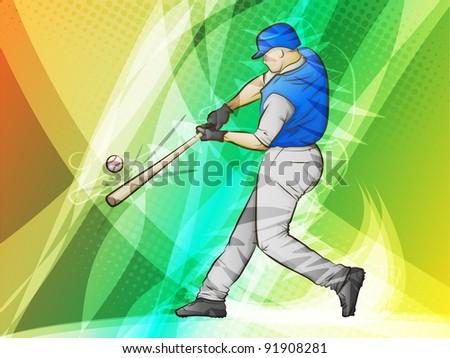 Baseball/Abstract Sports/Batter swinging for a homerun - stock photo