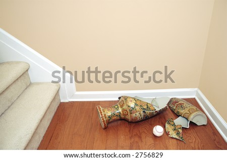 Baseball and a broken vase (clipping path for  easy color change of copyspace) - stock photo