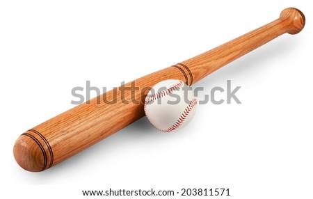 Baseball and baseball bat isolated on white background. Clipping path - stock photo