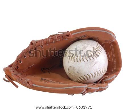 baseball and baseball glove isolated on white - stock photo