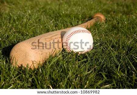 baseball and bat laying in the grass ready for a game