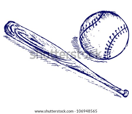 Baseball and Bat. Raster - stock photo