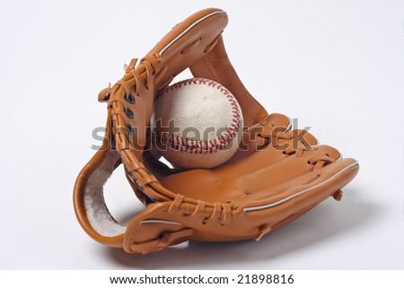 Baseball and glove - stock photo
