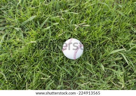 Baseball and lawn - stock photo