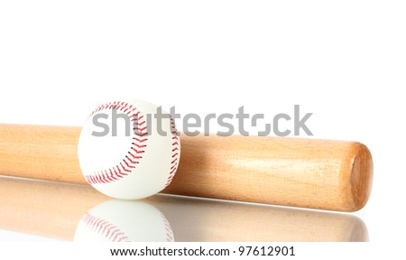 baseball ball and bat isolated on white - stock photo
