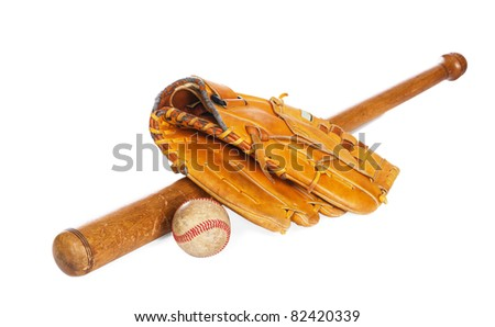 Baseball ball and glove, isolated on white background - stock photo