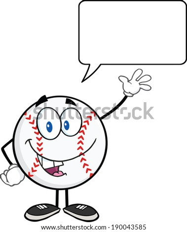 Baseball Ball Cartoon Character Waving For Greeting With Speech Bubble. Raster Illustration Isolated on white