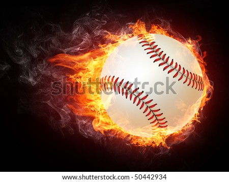 Baseball ball enveloped in fire flames isolated on black background.