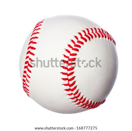 baseball ball Isolated on a white background with red stitches - stock photo