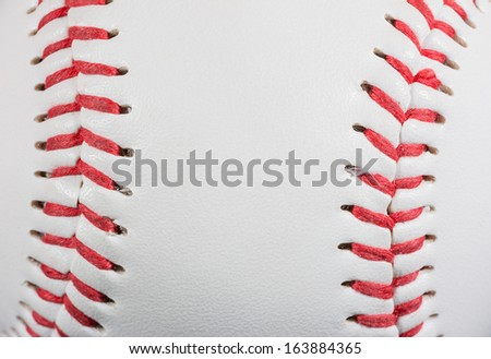 Baseball Ball macro on Stitches suitable as framed background for title text, horizontal shot - stock photo