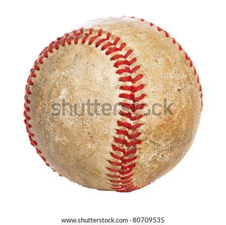 Baseball ball macro shot, isolated on white background - stock photo