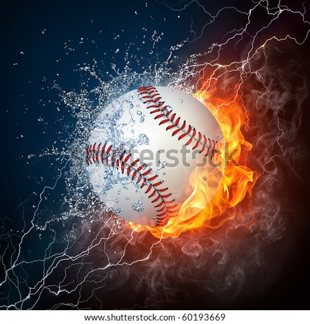 Baseball Ball on Fire and Water. 2D Graphics. Computer Design. - stock photo