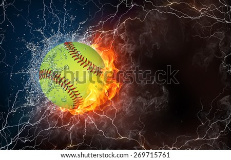 Baseball ball on fire and water with lightening around on black background. Horizontal layout with text space. - stock photo