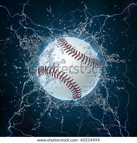 Baseball Ball on Water. 2D Graphics. Computer Design. - stock photo
