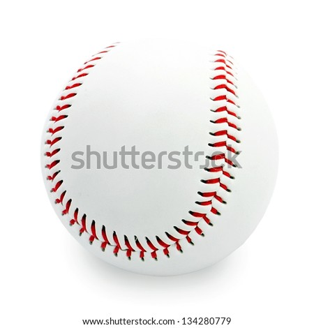 Baseball ball on white background with shadow - stock photo