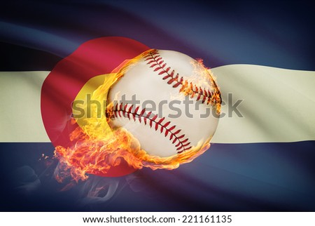 Baseball ball with flag on background series - Colorado