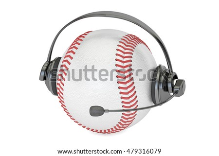 baseball ball with headset or headphones 3D rendering