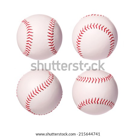 Baseball Balls Collection isolated on white background. Closeup. - stock photo