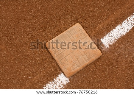 Baseball Base and Chalk Line with room for copy - stock photo
