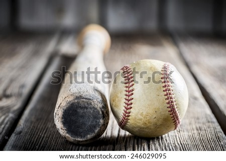 Baseball bat and ball - stock photo