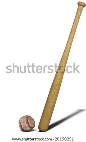Baseball bat and ball isolated over a white background - stock photo