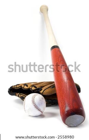 Baseball bat, ball and glove isolated against white - stock photo