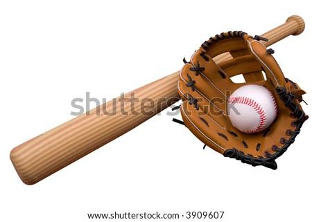 Baseball bat, ball and glove isolated over white - stock photo