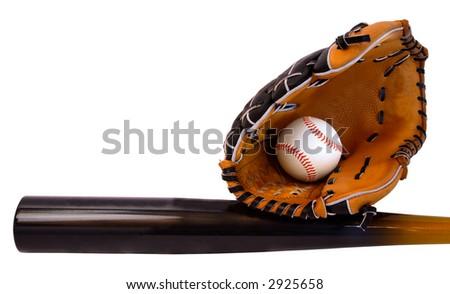 Baseball Bat, Glove and Ball - stock photo