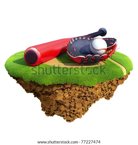 Baseball bat, glove (catcher's mitt) and ball based on little planet. Concept for baseball team or competition design. Tiny island / planet collection. - stock photo