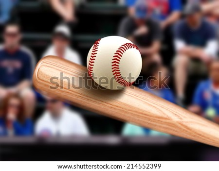 Baseball Bat Hitting Ball - stock photo