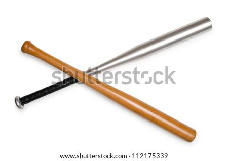 Baseball bat isolated on white - stock photo
