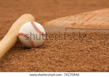 Baseball & Bat near a base with room for copy