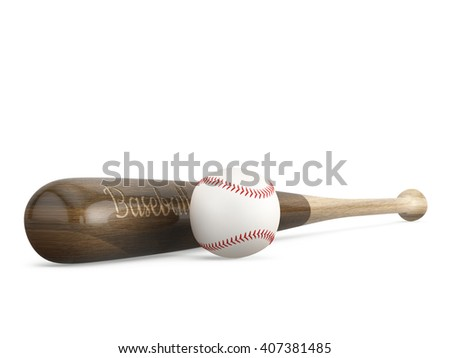 Baseball bat next to the ball on white background with copy space. 3D illustration.