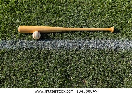 Baseball & Bat on the grass with room for copy