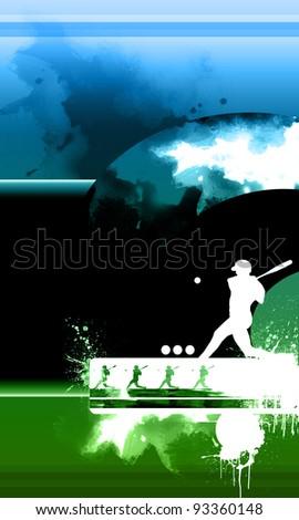 Baseball batter background (web, leaflet, magazine) - stock photo