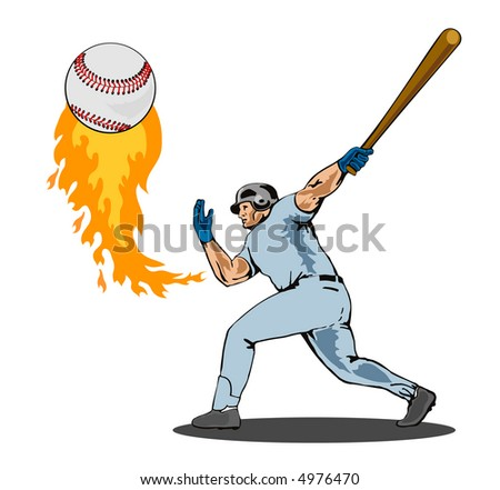 Baseball batter hitting a homer - stock photo