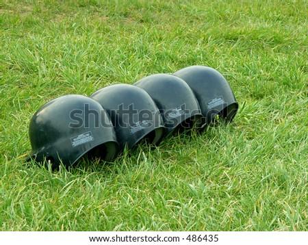 baseball batting helmets - stock photo