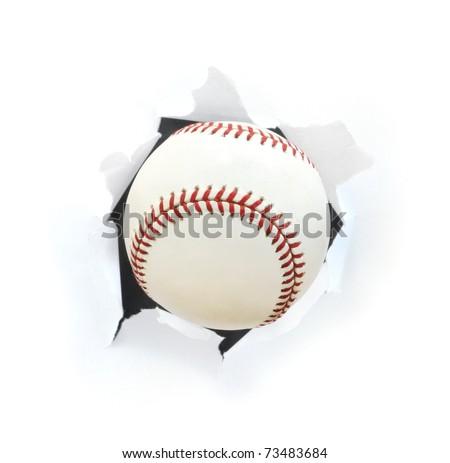 Baseball Bursting Though a Hole Isolated on White - stock photo