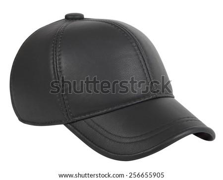 Baseball cap leatherette on a white background - stock photo