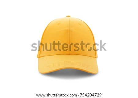 Baseball cap yellow templates, front views isolated on white background. Mock up.