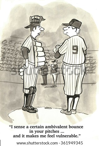 Baseball cartoon.  The catcher thinks the pitcher needs to put more determination into his pitches. - stock photo