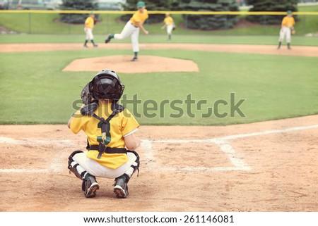 Baseball catcher - stock photo