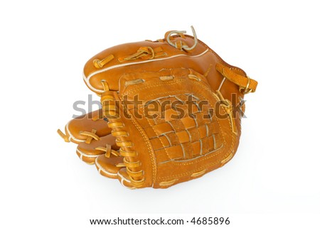 Baseball catcher mitt isolated on white background - stock photo