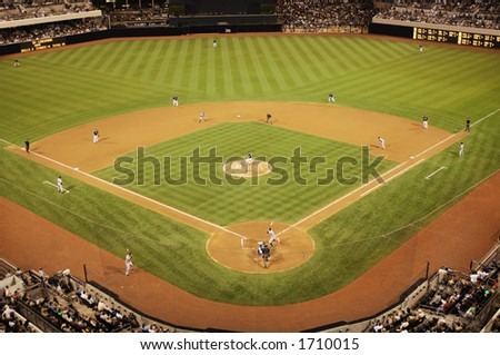 baseball diamond during game - stock photo